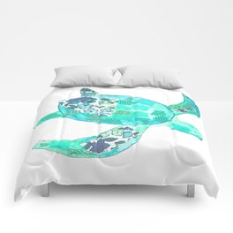 Ocean Blue Sea Turtle Comforters