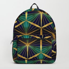 Gold Foil Hexagons in Deep Blue Sea Shades on Black Backpack