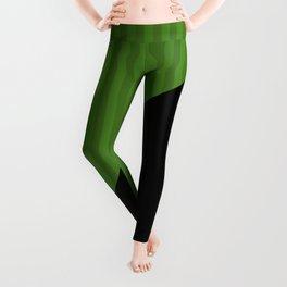 Black, green , striped Leggings