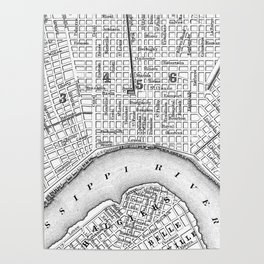 Vintage Map of New Orleans (1880) BW Poster