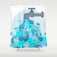 splash Shower Curtains featuring Splash by Lienke Raben