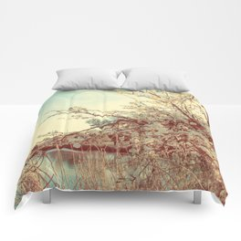 Hello Spring! (White Cherry Blossom by the Lake) Comforters