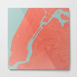 New York City Map in Coral Pink (Manhattan) Metal Print
