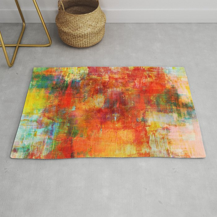 Autumn Harvest Fall Colorful Abstract Textural Painting Warm Red Orange Yellow Green Thanksgiving Rug By Ebiemporium