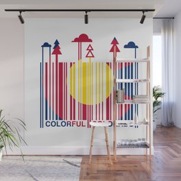 Colorful Colorado Barcode Flag Wall Mural