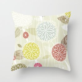 Abstract Floral Beige by Friztin Throw Pillow