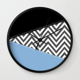 Zigzag Pattern, Chevron Pattern - Gray Blue Black Wall Clock