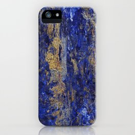 """""""Soul"""" Abstract textured art in blue & gold iPhone Case"""