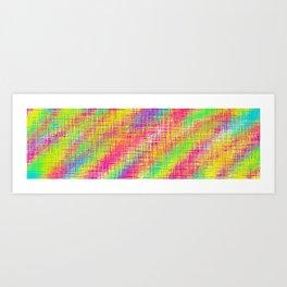 pink green yellow plaid pattern Art Print