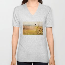 The heat on her back ... bumble bee photograph Unisex V-Neck