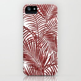 Tropical marsala red faux glitter palm tree pattern iPhone Case