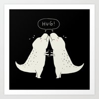 hug Art Prints featuring Hug by I Love Doodle