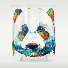 Colorful Panda Bear Art By Sharon Cummings Shower Curtain
