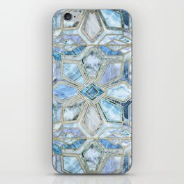 Geometric Gilded Stone Tiles in Soft Blues iPhone Skin
