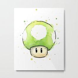 1UP Green Mushroom Painting Mario Gaming Geek Videogame Art Metal Print