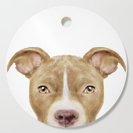 Pit Bull light Brown 2,Dog illustration original painting print Cutting Board
