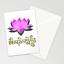 Lotus flower, om symbol and mantra 'om mani padme hum' Stationery Cards