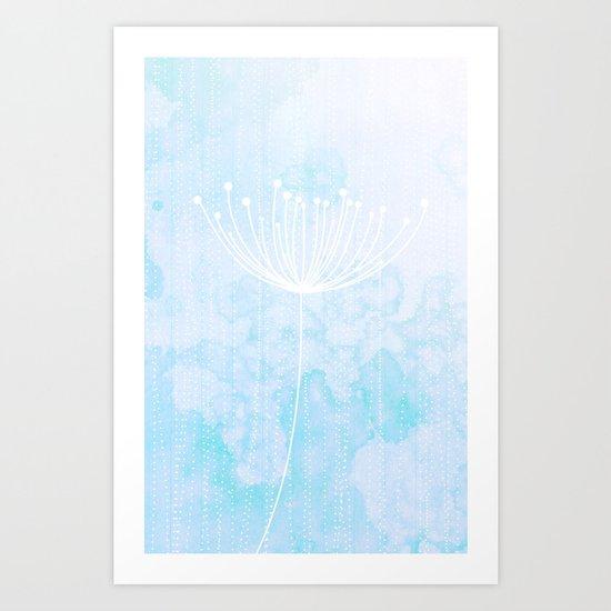 Modern Sky Retro Flower Dandelion Art Print