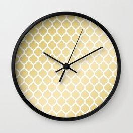 Elegant faux gold white moroccan quatrefoil pattern Wall Clock