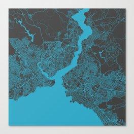Istanbul map blue Canvas Print
