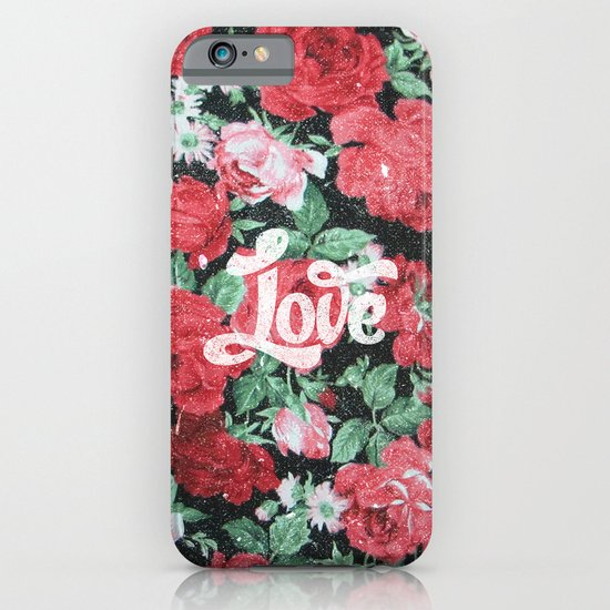 Red Pink Roses Chic Love Vintage Floral Pattern iPhone & iPod Case