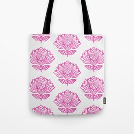 Pink Indian Woodblock Lotus Pattern Tote Bag