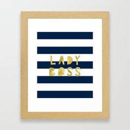 Lady Boss-Navy Stripes   Art   Pattern   Digital Design Framed Art Print