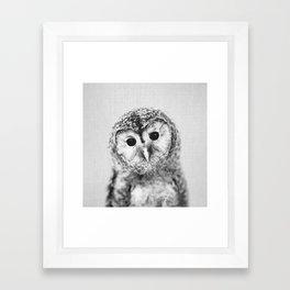 Baby Owl - Black & White Framed Art Print