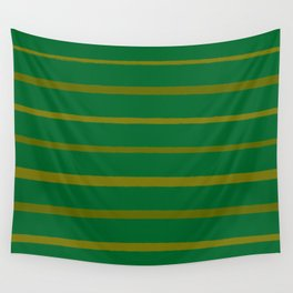 Emerald Green and Honey Gold Thin Stripes Wall Tapestry
