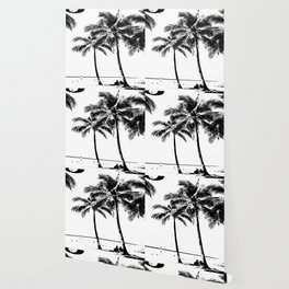 Black and White Palm Tree with Hawaii Summer Sea Beach Wallpaper