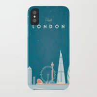 travel poster iPhone & iPod Cases featuring Vintage London Travel Poster by Travel Poster Co.