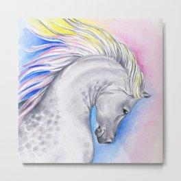 Rainbow Arabian Horse watercolor Art Metal Print