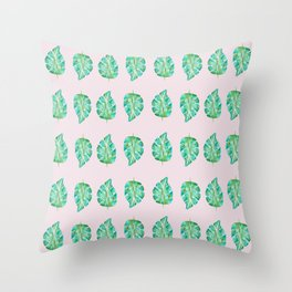 Pinky Green Monstera Throw Pillow