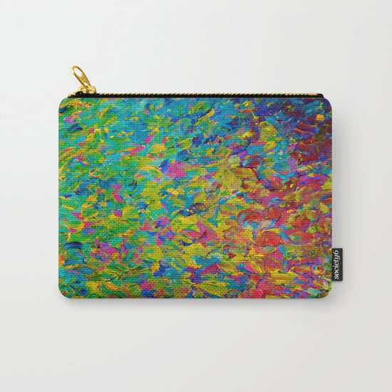 RAINBOW FIELDS - Colorful Abstract Acrylic Painting Ocean Waves Blue Teal Magenta Nature Fine Art Carry-All Pouch