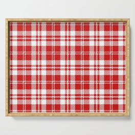Cozy Plaid in Red and White Serving Tray