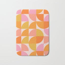 Mid Century Mod Geometry in Pink and Orange Bath Mat