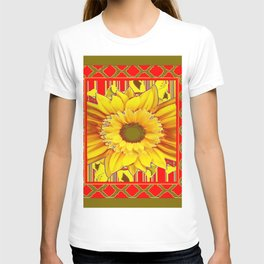 AVOCADO COLOR RED YELLOW SUNFLOWER ART T-shirt