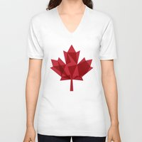 canada V-neck T-shirts featuring O Canada by Fimbis