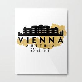 VIENNA AUSTRIA SILHOUETTE SKYLINE MAP ART Metal Print