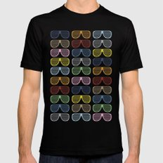 Rainbow Shutter Shades Black Mens Fitted Tee MEDIUM