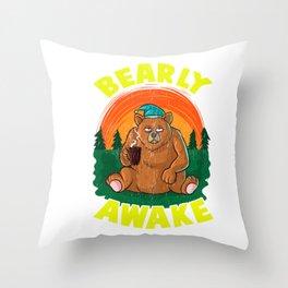 Bearly Awake Sleeping Bear Funny Barely Awake Pun Throw Pillow