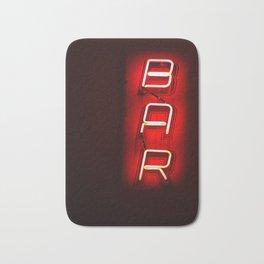 the Bar lovers - retro red neon light vertical BAR sign Bath Mat
