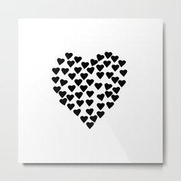 Hearts Heart Black and White Metal Print