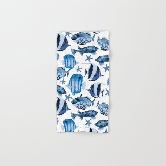 Fish underwater watercolor allover pattern Hand & Bath Towel
