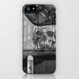 Skulls and Skating (Black and White) iPhone Case