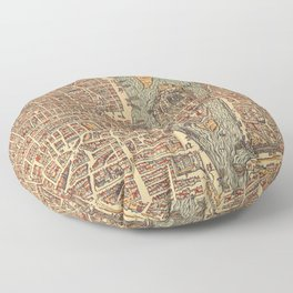Vintage Map of Paris (1575) Floor Pillow