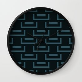Livid Blue Charcoal Mid-Century Geometry Wall Clock