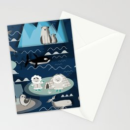 Arctic animals blue Stationery Cards