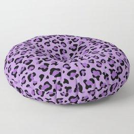 Animal Print, Spotted Leopard - Purple Black Floor Pillow