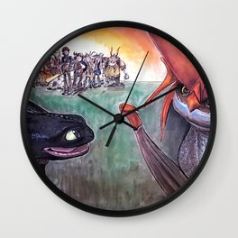 Toothless and Cloudjumper - Dragons Wall Clock